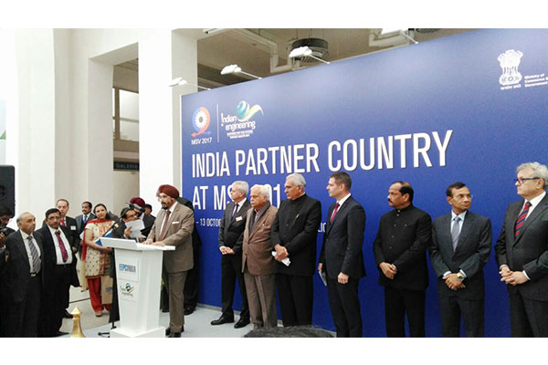 Inauguration of India Pavilion on the October 9th at MSV 2017 - Mr T S Bhasin, Chairman, EEPC India delivering the welcome address. Also Present on the Dais from Left Mr Jiri Kuris, Chairman of Management Board and Chief Executive Officer, Veletrhy Brno a.s; Mr R V Deshpande, Minister of Medium and Large Industries, Government of Karnataka; Mr C.R. Chaudhary, Hon`ble Minister of State, Ministry of Commerce and Industry, Government of India; Mr. Jiri Havlicek, Minister of industry and Trade of the Czech Republic ; Mr Raghubar Das, Hon`ble Chief Minister of Jharkand, Mr Krishan Kumar, Indian Ambassador to the Czech Republic; Mr. Vladimir Dlouhy, President of the Czech Chamber of Commerce
