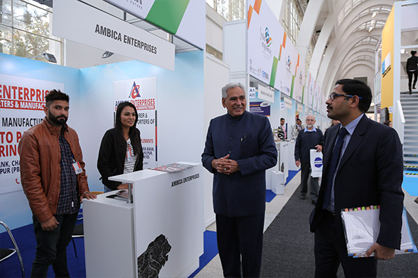 Mr C.R. Chaudhary, Hon`ble Minister of State, Ministry of Commerce and Industry, Government of India visiting Indian Exhibitors at their stalls.
