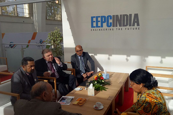 Ms Virginia Hesse, Ambassador of Ghana Extraordinary and Plenipotentiary to the Czech Republic with Mr R.P.Jhalani, Past Chairman, EEPC India; Mr Bhaskar Sarkar, Executive Director & Secertary, EEPC India; Mr Radoslav Klepac, Director International Relations, Veletrhy Brno a.s and Mr Adhip Mitra, Director ( Budget & Finance), EEPC India